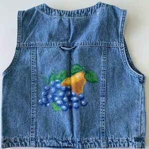 Gap Girls Denim Embellished Vest Fruit Design Sz L
